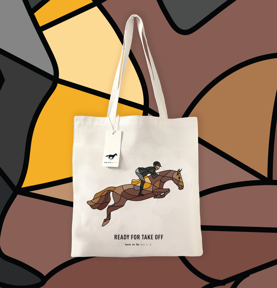 Horse on the loose tote bag