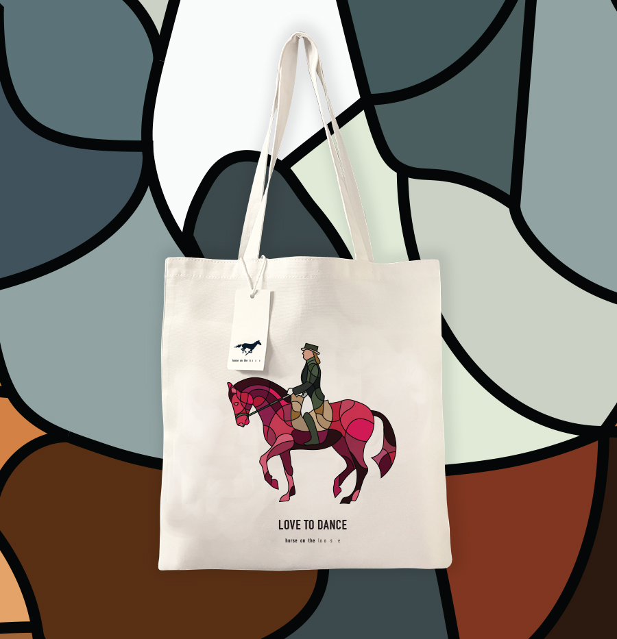 Horse on the loose tote bag design