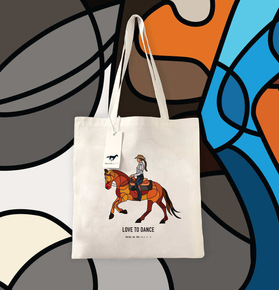 Horse on the loose tote bags for equestrian
